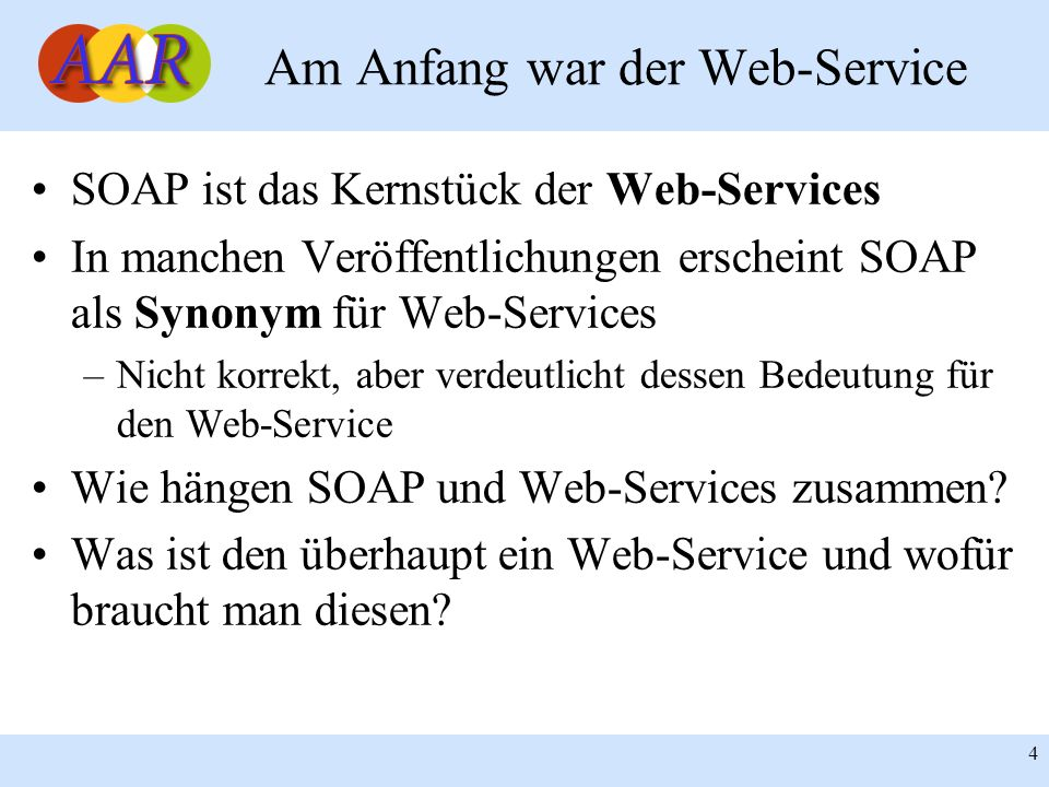 Franck Borel - UB-Freiburg 45 SOAP mit PEAR::SOAP Beispiele zum ausprobieren: –Einfacher Web-Service-Anbieter/Konsument –Web-Service-Anbieter/Konsument mit Parametern –Web-Service-Anbieter/Konsument mit komplexen Datentypen