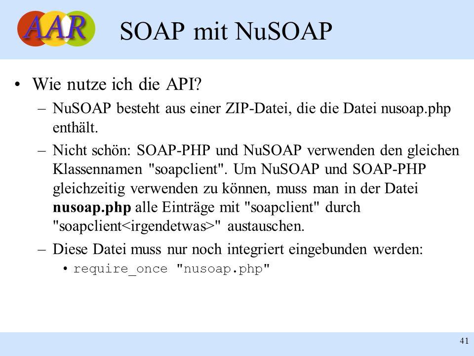Franck Borel - UB-Freiburg 41 SOAP mit NuSOAP Wie nutze ich die API? –NuSOAP besteht aus einer ZIP-Datei, die die Datei nusoap.php enthält. –Nicht sch