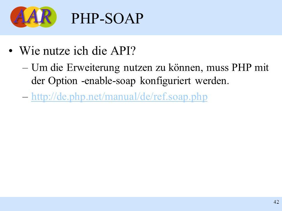 Franck Borel - UB-Freiburg 42 PHP-SOAP Wie nutze ich die API? –Um die Erweiterung nutzen zu können, muss PHP mit der Option -enable-soap konfiguriert