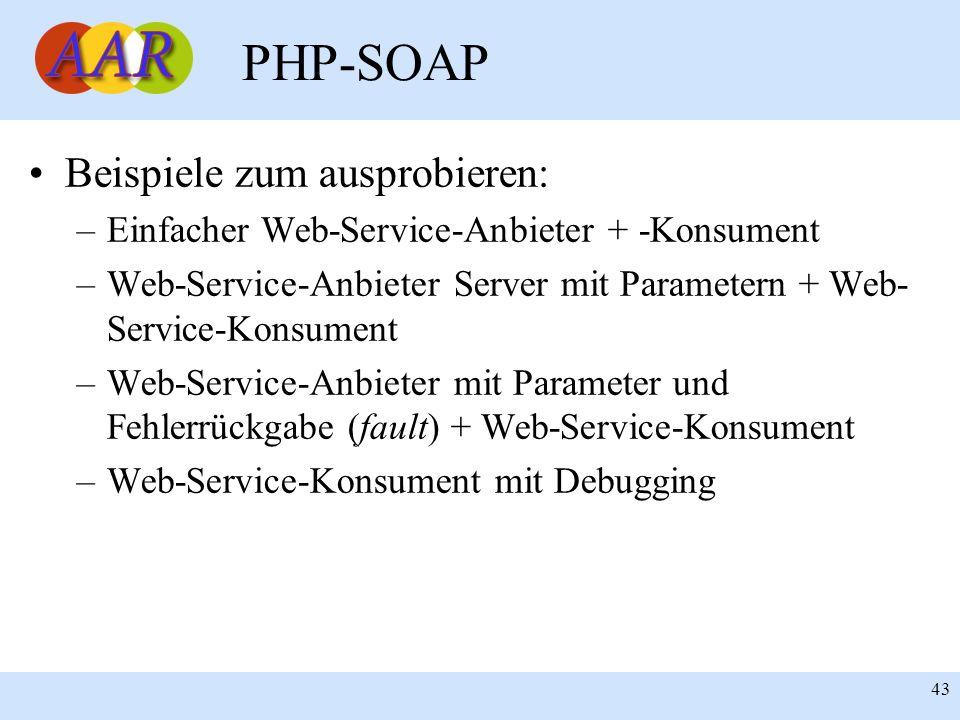 Franck Borel - UB-Freiburg 43 PHP-SOAP Beispiele zum ausprobieren: –Einfacher Web-Service-Anbieter + -Konsument –Web-Service-Anbieter Server mit Param