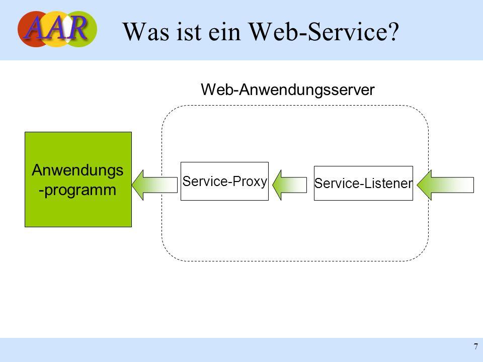 Franck Borel - UB-Freiburg 7 Was ist ein Web-Service? Anwendungs -programm Service-Proxy Service-Listener Web-Anwendungsserver