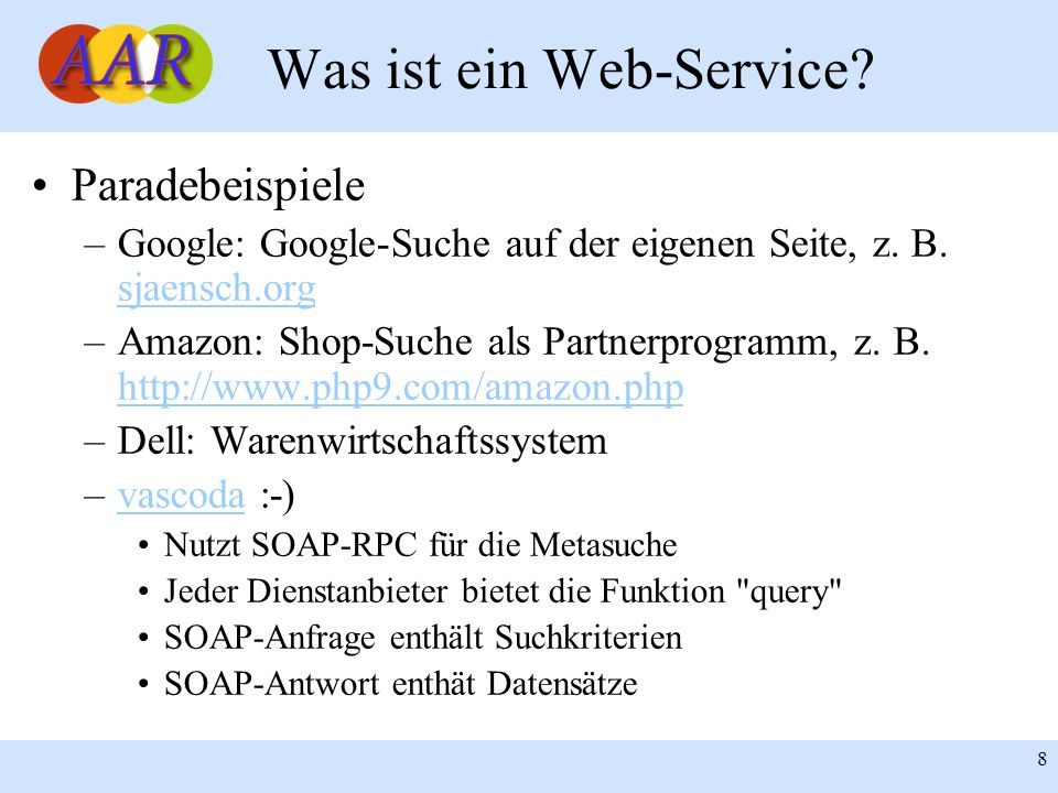 Franck Borel - UB-Freiburg 19 SOAP: Nachrichtenformat Beispiel: <env:Envelope xmlns:env= http://www.w3.org/2003/05/soap-envelope xmlns:xsi= http://www.w3.org/2001/XML-Schema-instance Xmlns:xsd= http://www.w3.org/2001/XMLSchema >...
