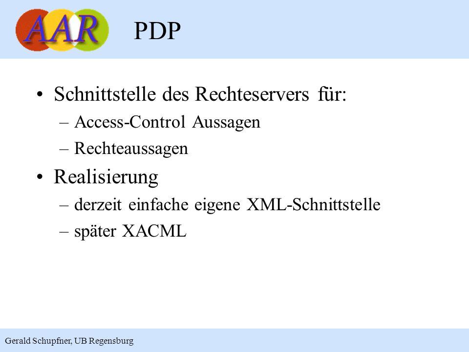 15 Gerald Schupfner, UB Regensburg PDP Schnittstelle des Rechteservers für: –Access-Control Aussagen –Rechteaussagen Realisierung –derzeit einfache ei
