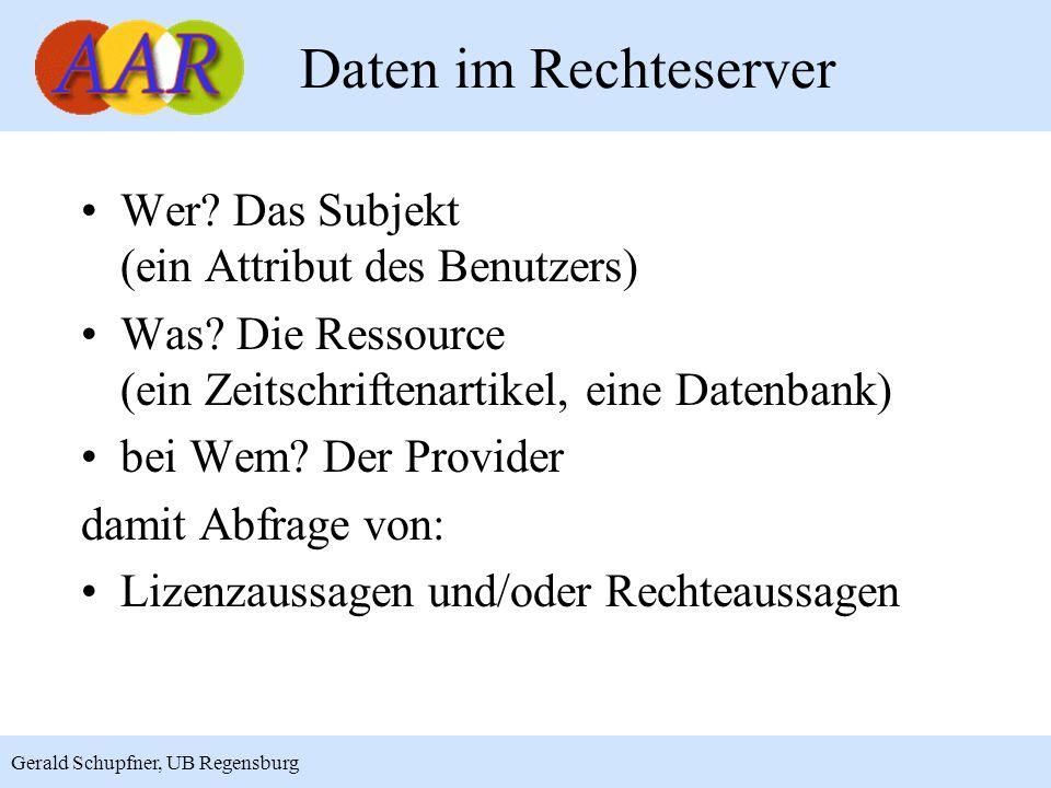 5 Gerald Schupfner, UB Regensburg Daten im Rechteserver Wer? Das Subjekt (ein Attribut des Benutzers) Was? Die Ressource (ein Zeitschriftenartikel, ei