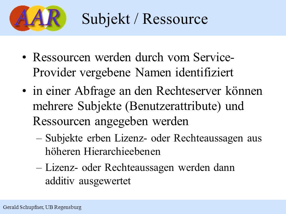 7 Gerald Schupfner, UB Regensburg Subjekt / Ressource Ressourcen werden durch vom Service- Provider vergebene Namen identifiziert in einer Abfrage an