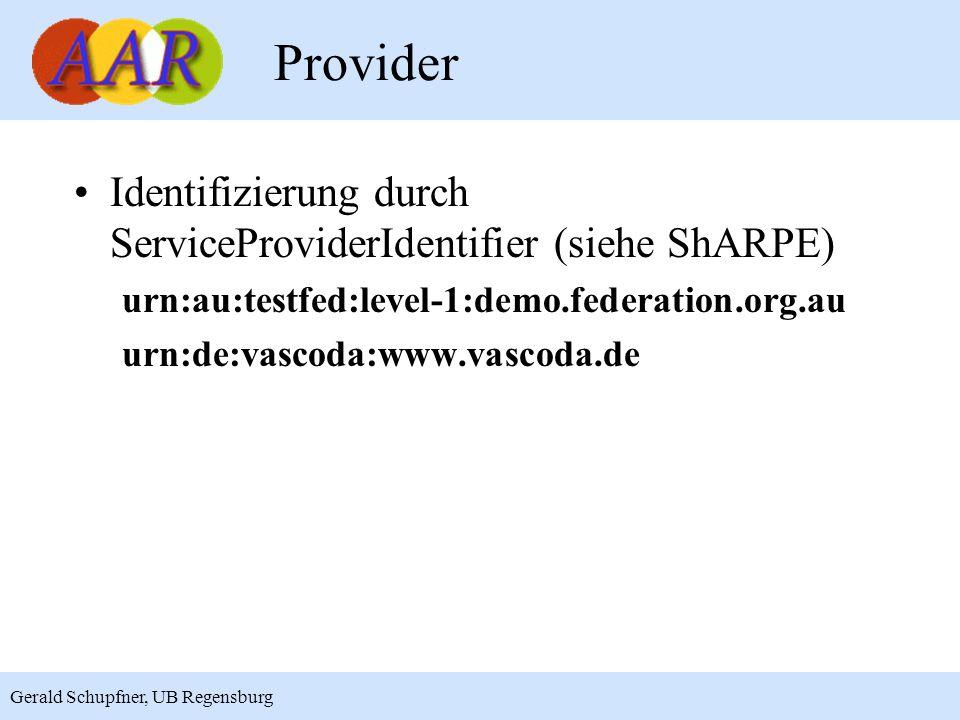 8 Gerald Schupfner, UB Regensburg Provider Identifizierung durch ServiceProviderIdentifier (siehe ShARPE) urn:au:testfed:level-1:demo.federation.org.au urn:de:vascoda:www.vascoda.de