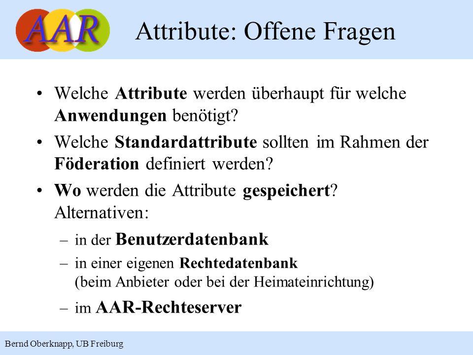 18 Bernd Oberknapp, UB Freiburg Welche Attribute werden überhaupt für welche Anwendungen benötigt? Welche Standardattribute sollten im Rahmen der Föde
