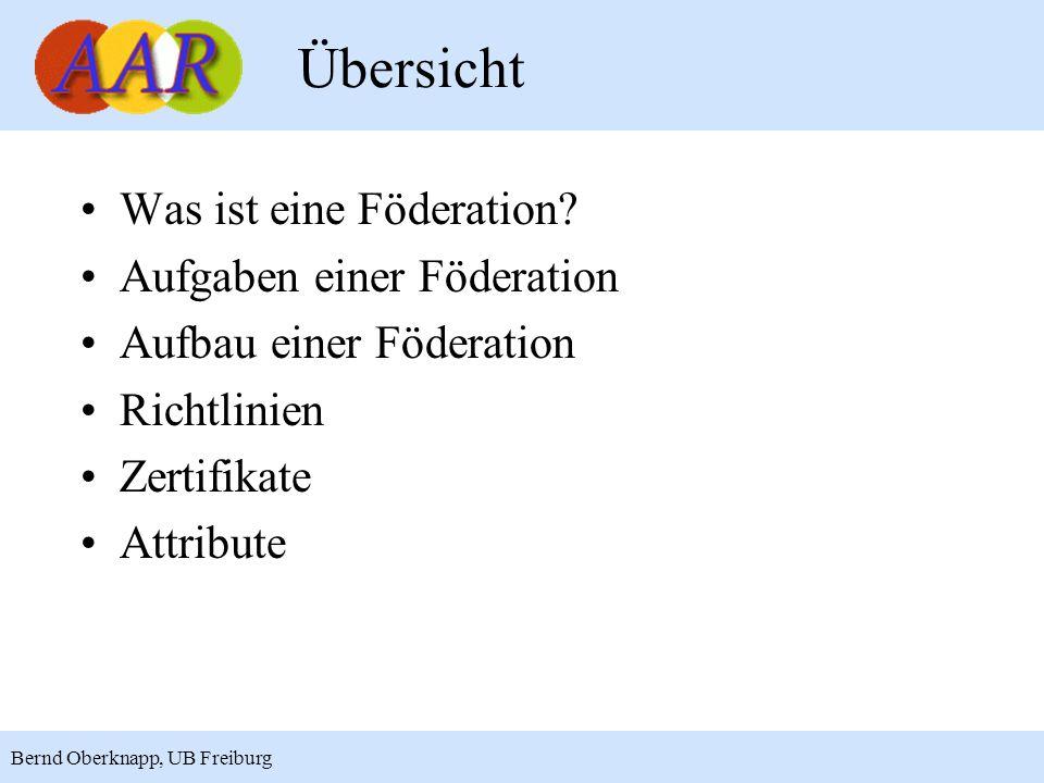 2 Übersicht Was ist eine Föderation? Aufgaben einer Föderation Aufbau einer Föderation Richtlinien Zertifikate Attribute