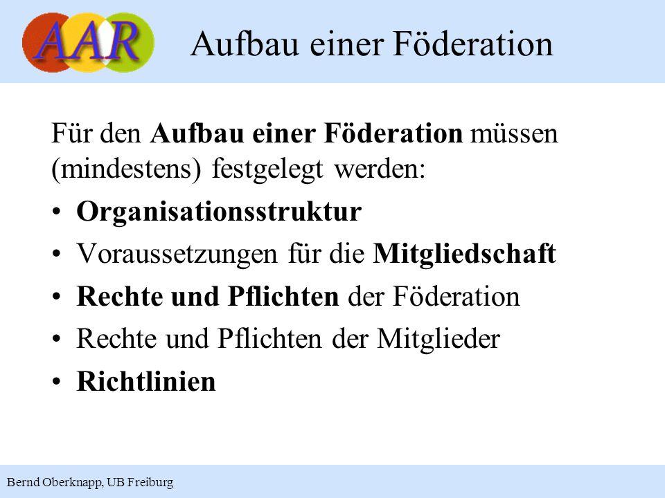 7 Bernd Oberknapp, UB Freiburg Aufbau einer Föderation Für den Aufbau einer Föderation müssen (mindestens) festgelegt werden: Organisationsstruktur Vo