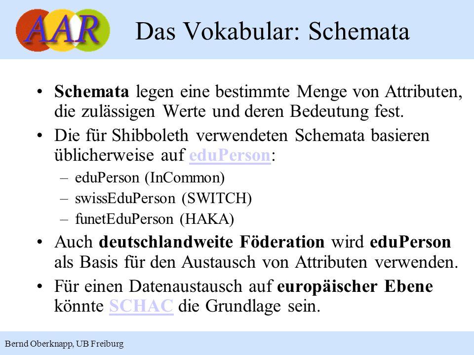 5 Bernd Oberknapp, UB Freiburg Das Vokabular: Schemata Schemata legen eine bestimmte Menge von Attributen, die zulässigen Werte und deren Bedeutung fest.