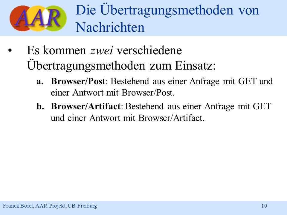 Franck Borel, AAR-Projekt, UB-Freiburg 10 Die Übertragungsmethoden von Nachrichten Es kommen zwei verschiedene Übertragungsmethoden zum Einsatz: a.Bro
