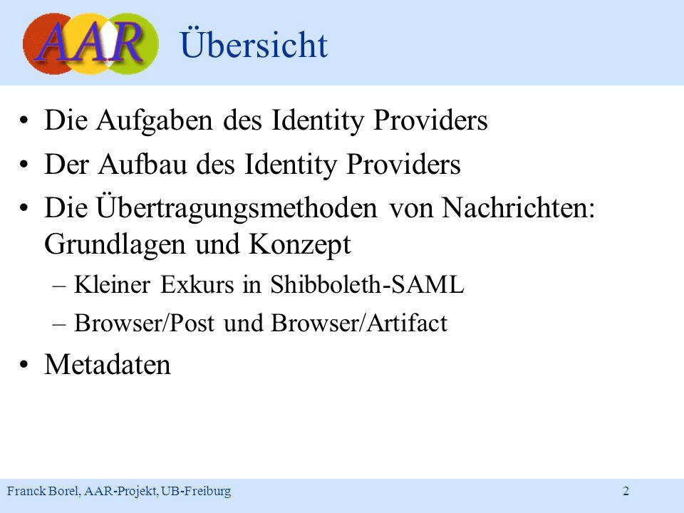 Franck Borel, AAR-Projekt, UB-Freiburg 2 Übersicht Die Aufgaben des Identity Providers Der Aufbau des Identity Providers Die Übertragungsmethoden von