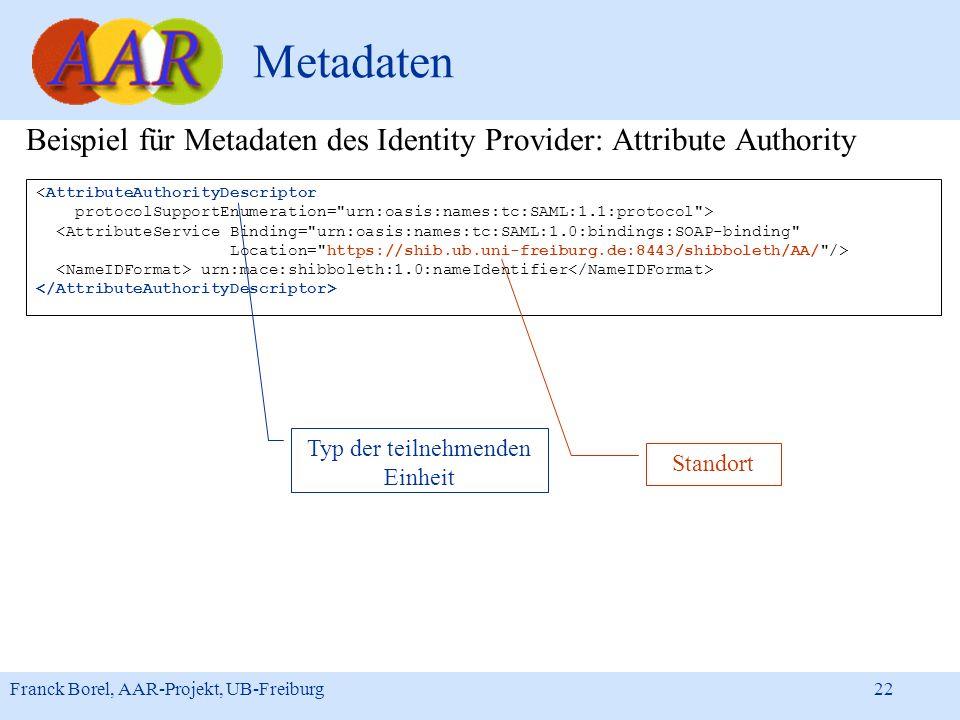 Franck Borel, AAR-Projekt, UB-Freiburg 22 Metadaten Beispiel für Metadaten des Identity Provider: Attribute Authority <AttributeAuthorityDescriptor pr