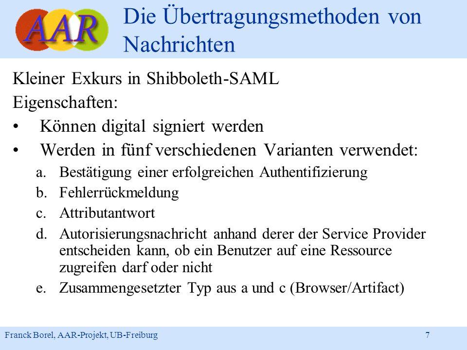 Franck Borel, AAR-Projekt, UB-Freiburg 7 Die Übertragungsmethoden von Nachrichten Kleiner Exkurs in Shibboleth-SAML Eigenschaften: Können digital sign