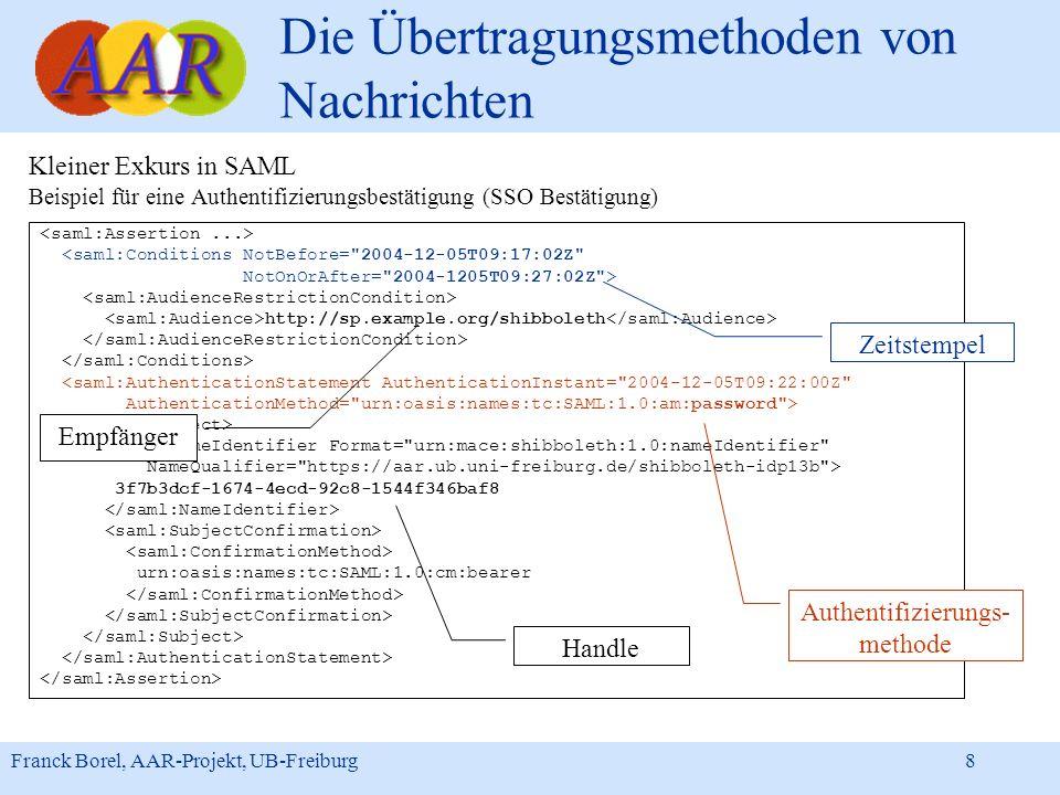 Franck Borel, AAR-Projekt, UB-Freiburg 8 Die Übertragungsmethoden von Nachrichten Kleiner Exkurs in SAML Beispiel für eine Authentifizierungsbestätigu