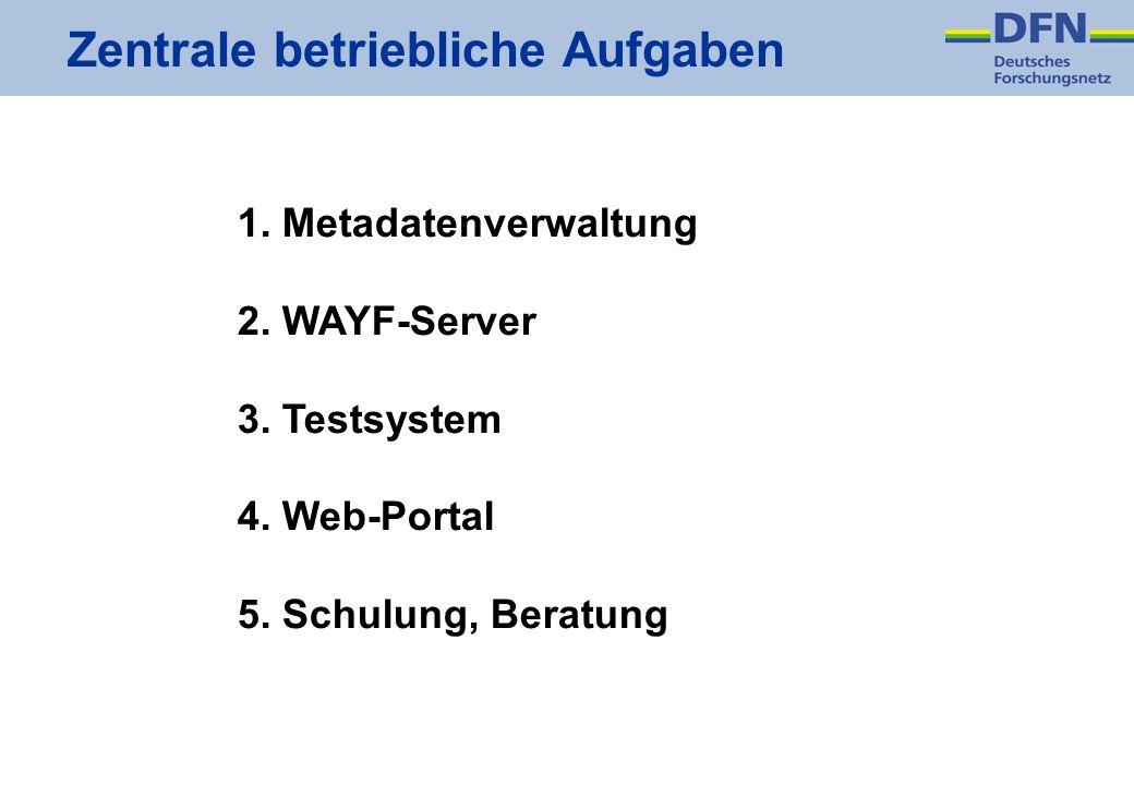 Zentrale betriebliche Aufgaben 1. Metadatenverwaltung 2. WAYF-Server 3. Testsystem 4. Web-Portal 5. Schulung, Beratung