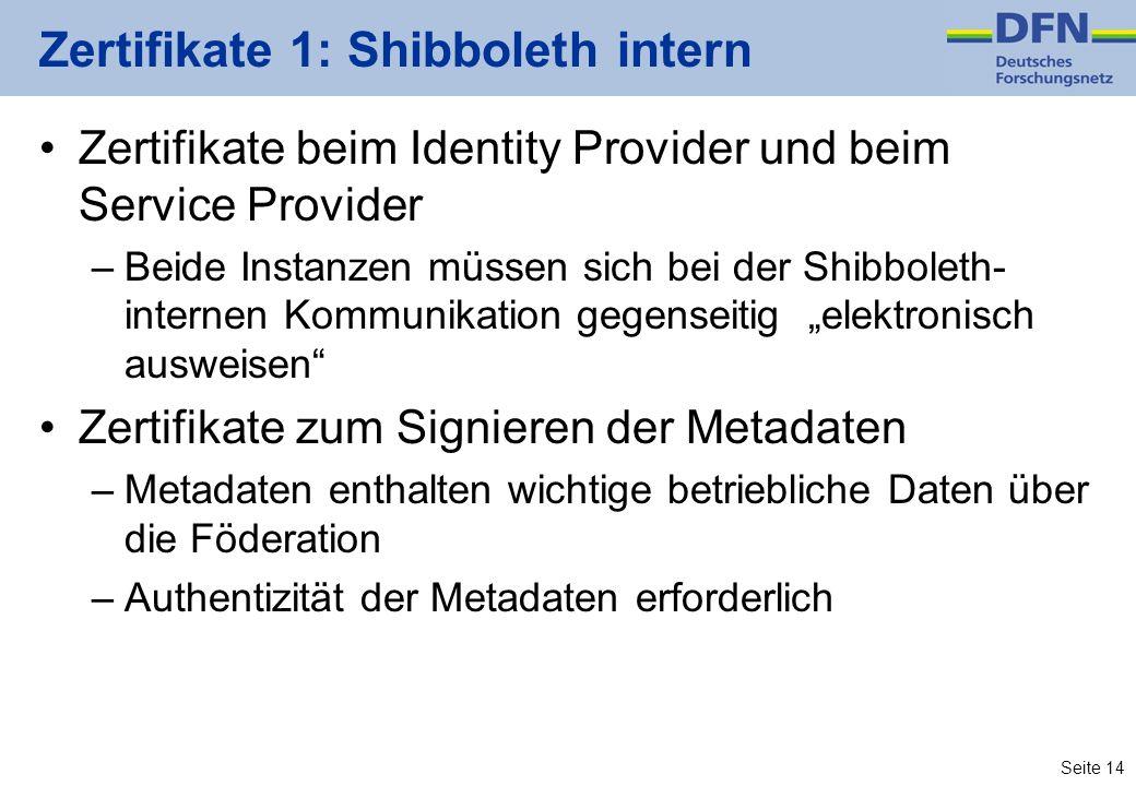 Seite 14 Zertifikate 1: Shibboleth intern Zertifikate beim Identity Provider und beim Service Provider –Beide Instanzen müssen sich bei der Shibboleth