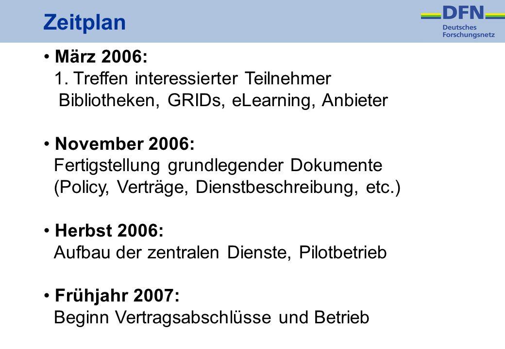 Zeitplan März 2006: 1. Treffen interessierter Teilnehmer Bibliotheken, GRIDs, eLearning, Anbieter November 2006: Fertigstellung grundlegender Dokument