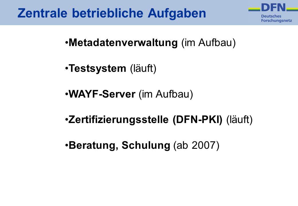 Zentrale betriebliche Aufgaben Metadatenverwaltung (im Aufbau) Testsystem (läuft) WAYF-Server (im Aufbau) Zertifizierungsstelle (DFN-PKI) (läuft) Bera