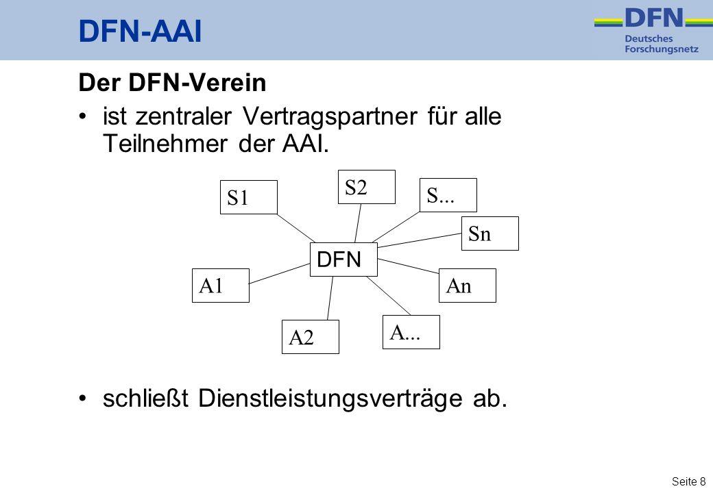 Seite 8 Der DFN-Verein ist zentraler Vertragspartner für alle Teilnehmer der AAI. schließt Dienstleistungsverträge ab. DFN-AAI S1 A1 A... A2 An Sn S2