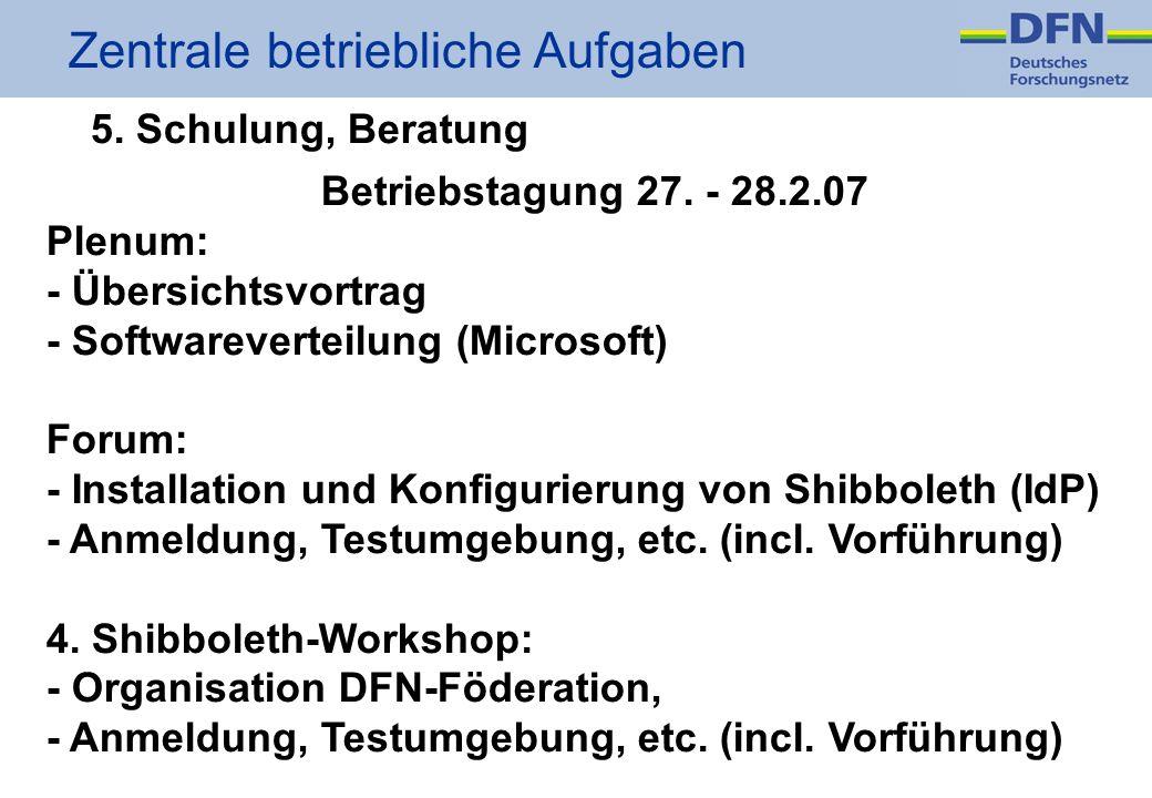 Zentrale betriebliche Aufgaben 5. Schulung, Beratung Betriebstagung 27.