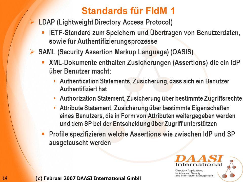 14 (c) Februar 2007 DAASI International GmbH Standards für FIdM 1 LDAP (Lightweight Directory Access Protocol) IETF-Standard zum Speichern und Übertra