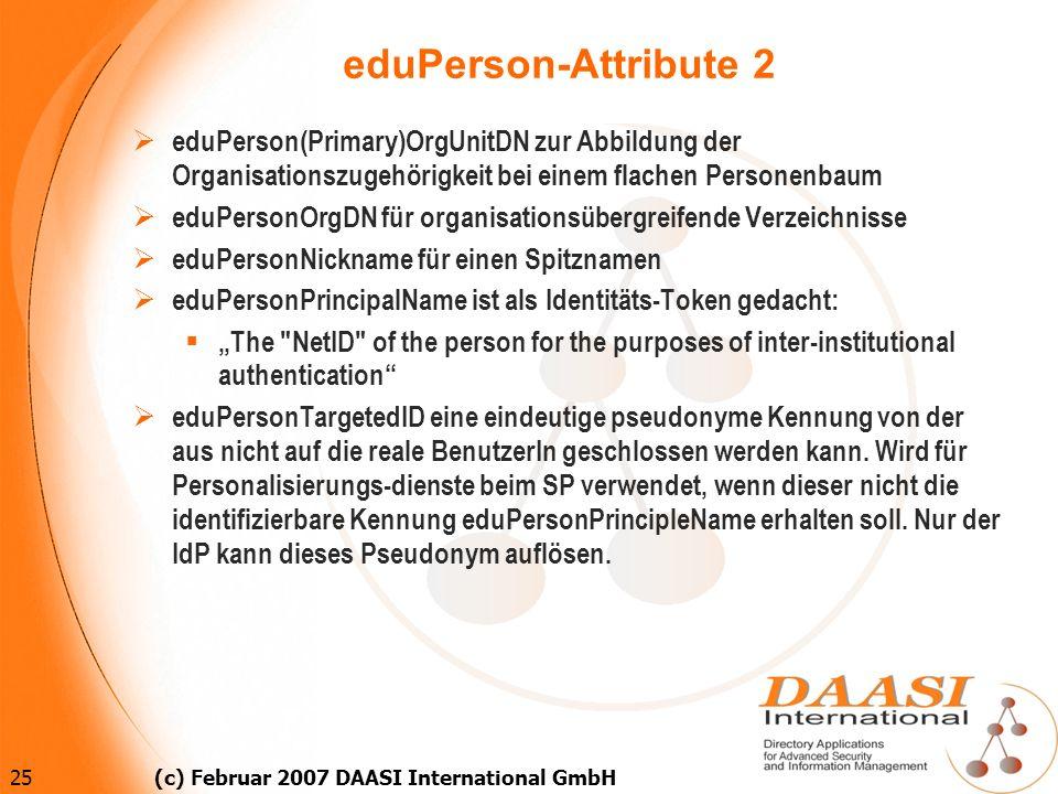 25 (c) Februar 2007 DAASI International GmbH eduPerson(Primary)OrgUnitDN zur Abbildung der Organisationszugehörigkeit bei einem flachen Personenbaum e