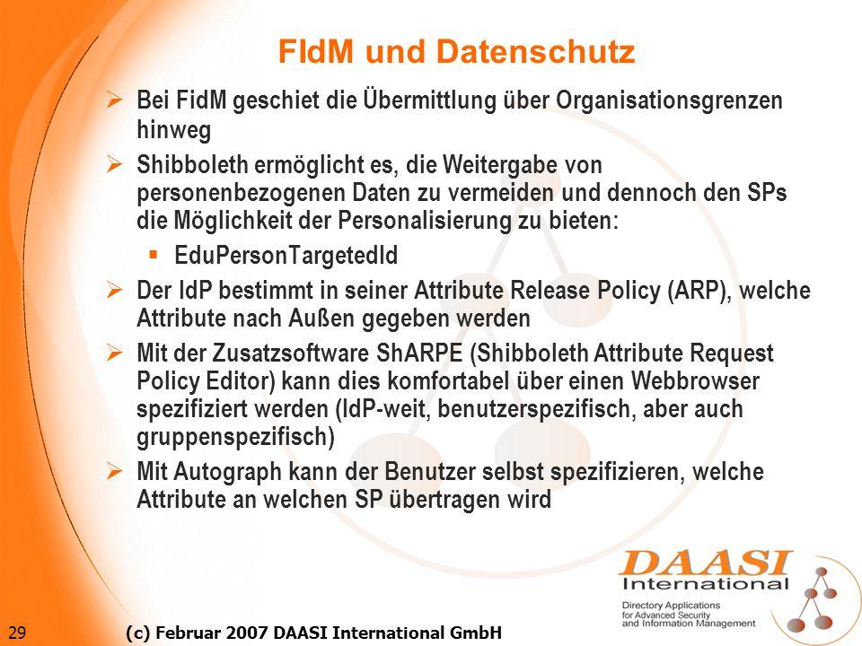 29 (c) Februar 2007 DAASI International GmbH FIdM und Datenschutz Bei FidM geschiet die Übermittlung über Organisationsgrenzen hinweg Shibboleth ermög