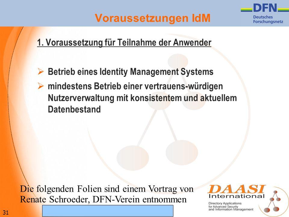 31 (c) Februar 2007 DAASI International GmbH Voraussetzungen IdM 1. Voraussetzung für Teilnahme der Anwender Betrieb eines Identity Management Systems
