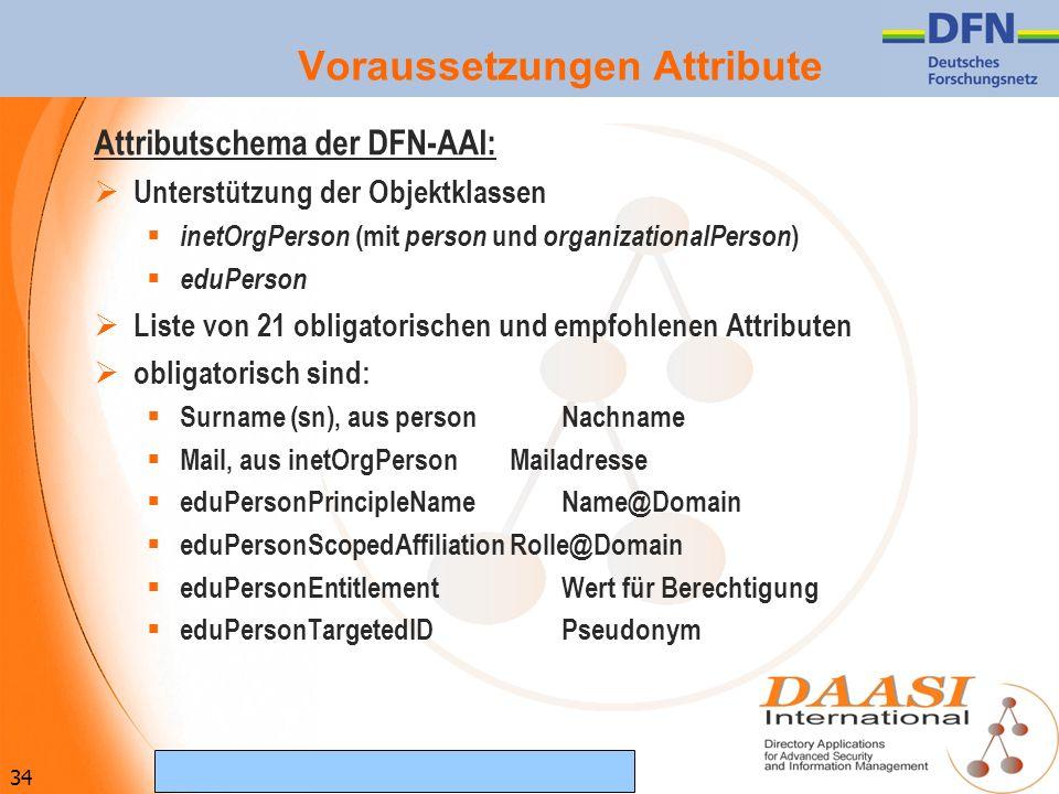 34 (c) Februar 2007 DAASI International GmbH Voraussetzungen Attribute Attributschema der DFN-AAI: Unterstützung der Objektklassen inetOrgPerson (mit