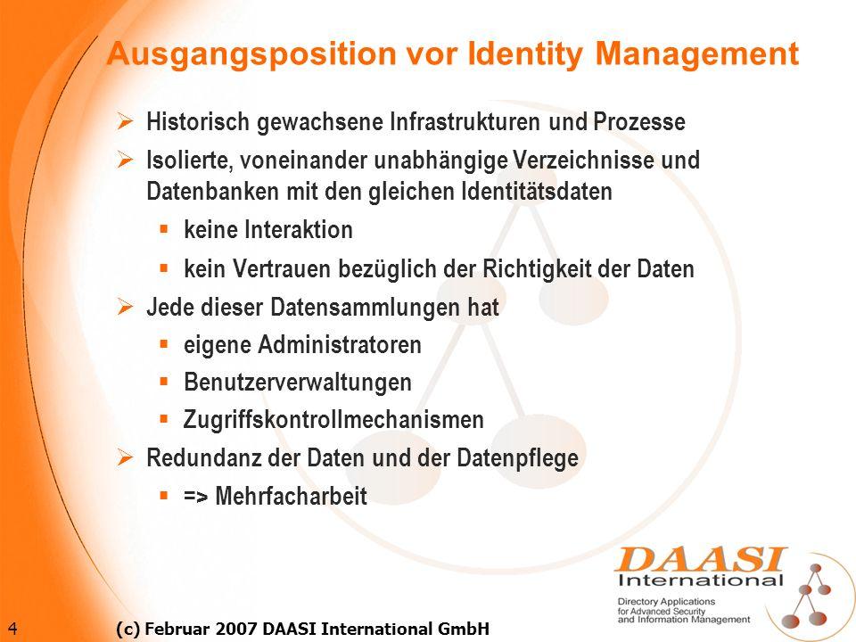 15 (c) Februar 2007 DAASI International GmbH Standards für FidM 2 XACML (eXtensible Access Control Markup Language) (OASIS) XML-Dokumente enthalten Botschaften über Autorisierungsentscheidungen und Zugriffskontrollregeln (policy) SPML (Service Provisioning Markup Language(OASIS) XML-Dokumente enthalten Benutzerinformationen, die an Anwendungen (auch über Organisationsgrenzen hinweg) provisioiert werden.