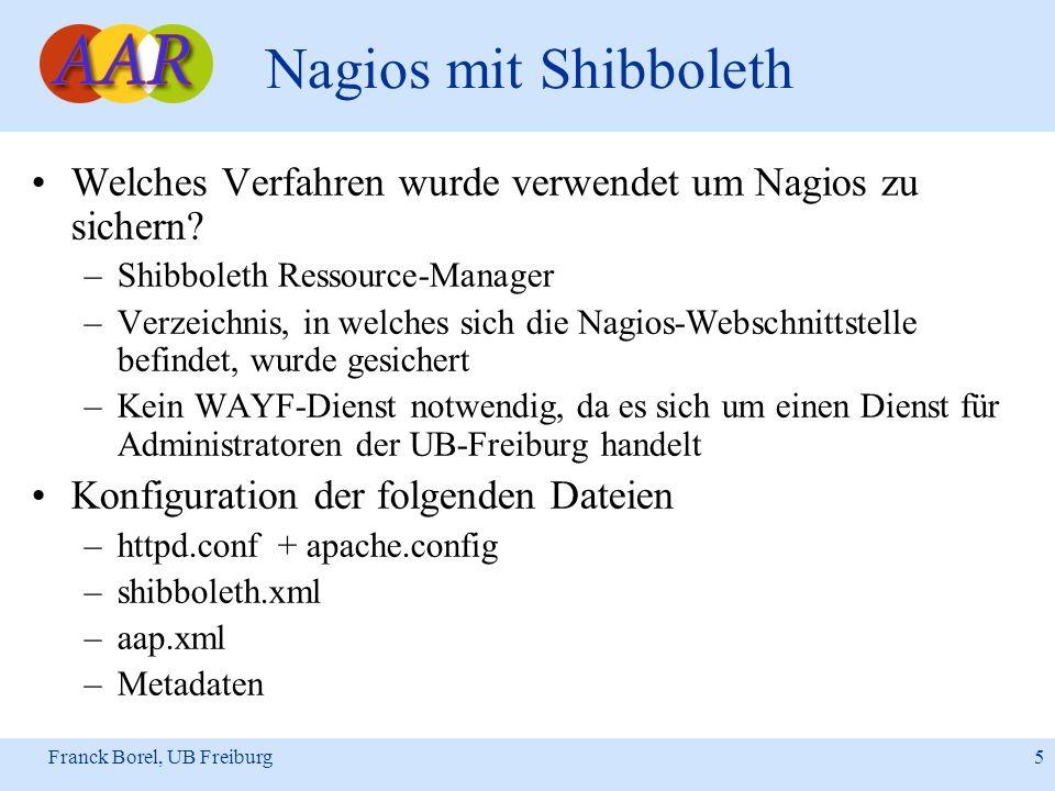 Franck Borel, UB Freiburg 6 Nagios mit Shibboleth Konfigurationsdatei: httpd.conf … ServerName nagios.ub.uni-freiburg.de ServerAdmin root@nagios.ub.uni-freiburg.de …...