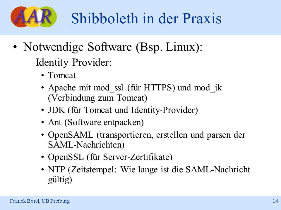 Franck Borel, UB Freiburg 14 Shibboleth in der Praxis Notwendige Software (Bsp. Linux): –Identity Provider: Tomcat Apache mit mod_ssl (für HTTPS) und
