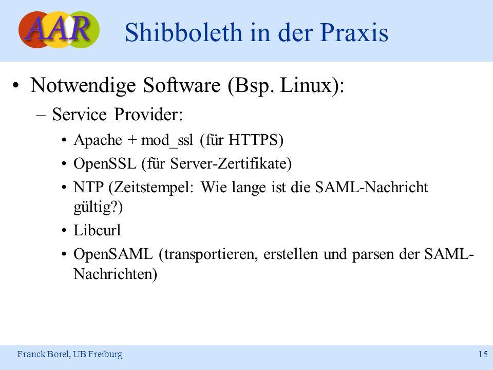 Franck Borel, UB Freiburg 15 Shibboleth in der Praxis Notwendige Software (Bsp. Linux): –Service Provider: Apache + mod_ssl (für HTTPS) OpenSSL (für S