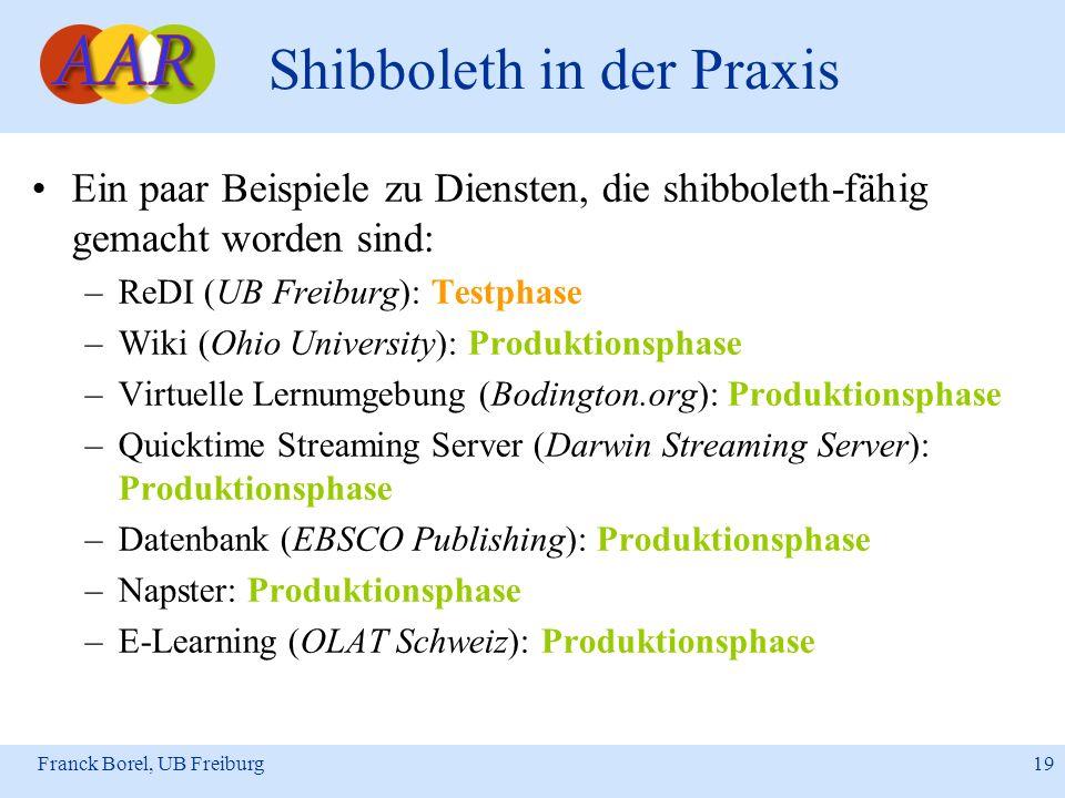 Franck Borel, UB Freiburg 19 Shibboleth in der Praxis Ein paar Beispiele zu Diensten, die shibboleth-fähig gemacht worden sind: –ReDI (UB Freiburg): T