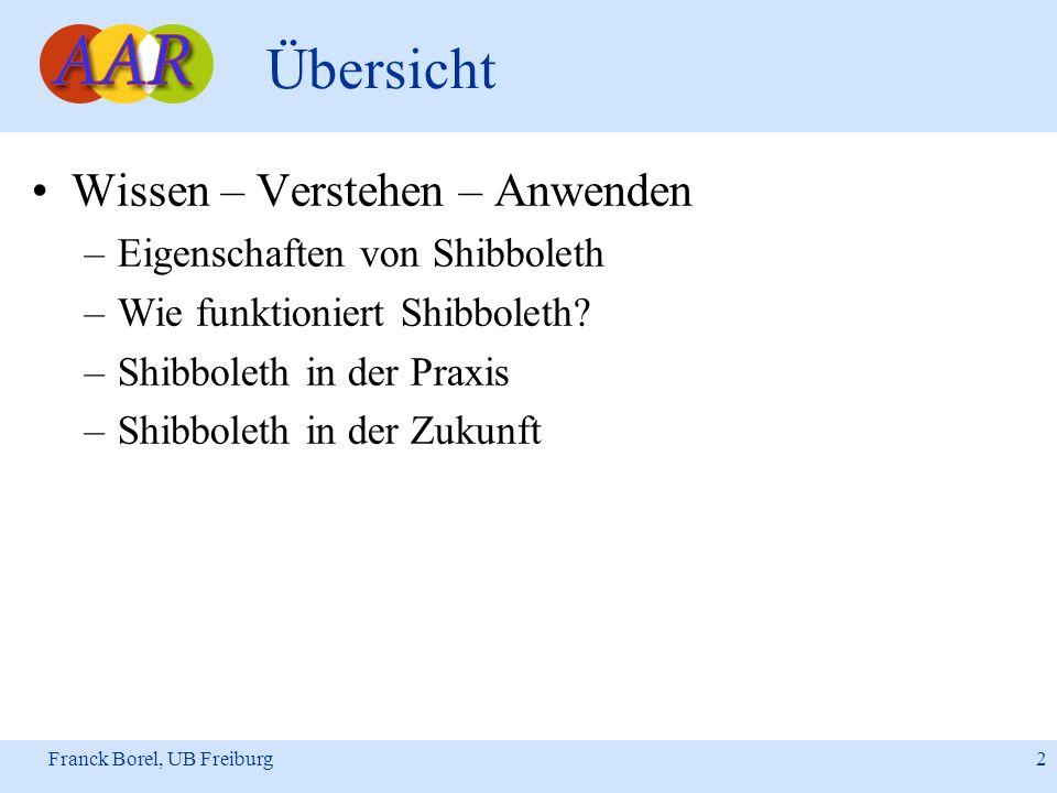 Franck Borel, UB Freiburg 2 Übersicht Wissen – Verstehen – Anwenden –Eigenschaften von Shibboleth –Wie funktioniert Shibboleth? –Shibboleth in der Pra