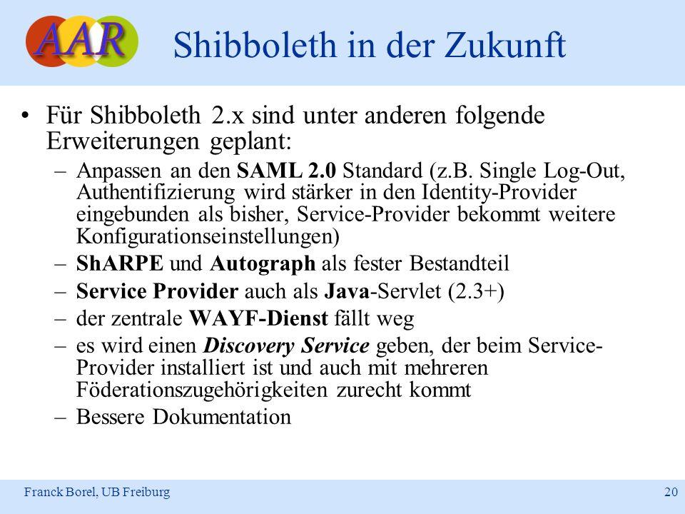 Franck Borel, UB Freiburg 20 Shibboleth in der Zukunft Für Shibboleth 2.x sind unter anderen folgende Erweiterungen geplant: –Anpassen an den SAML 2.0