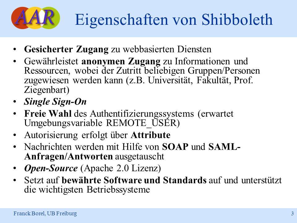 Franck Borel, UB Freiburg 3 Eigenschaften von Shibboleth Gesicherter Zugang zu webbasierten Diensten Gewährleistet anonymen Zugang zu Informationen un