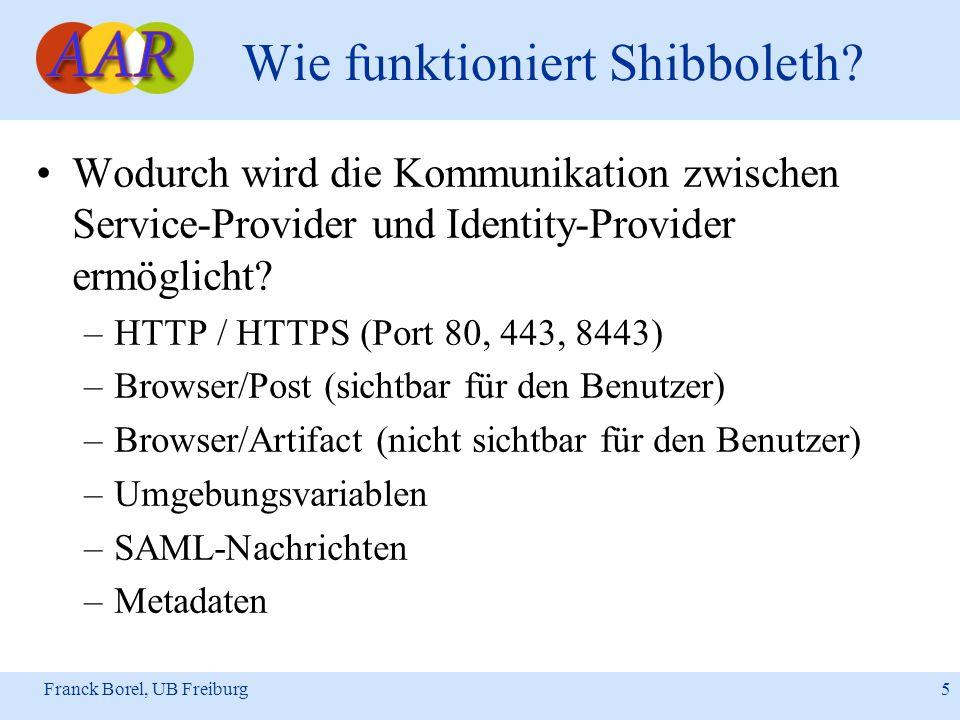 Franck Borel, UB Freiburg 16 Shibboleth in der Praxis Optionale Software (Auszug): –WAYF (Internet2): Lokalisierungsdienst –Rechteserver (Uni-Regensburg): Attributübersetzung für Service-Provider –Arpedit (Internet2): ARP-Editor für Identity Provider –Mod_auth_location (Internet2): Anonymer Zugang von ausgewählten Browsern und Service Providern –ShARPE (MAMS): Administrationswerkzeug zum Konfigurieren von ARP-Dateien –Autograph (MAMS): Benutzerwerkzeug zum Konfigurieren von ARP-Dateien –Resource-Registry (SWITCH): Zentraler Datenspeicher, in denen alle Informationen zu den Service Providern und Identity Providern zusammengetragen sind