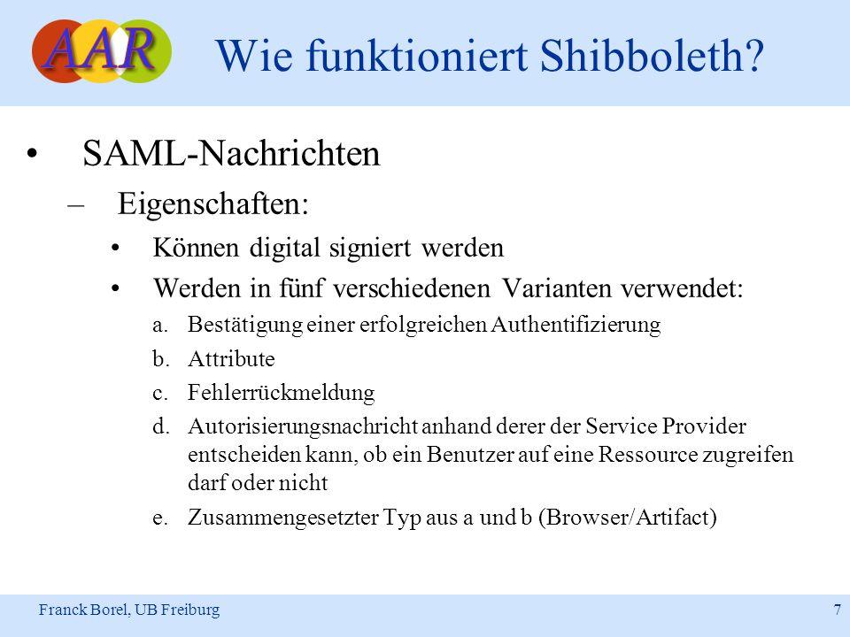 Franck Borel, UB Freiburg 7 Wie funktioniert Shibboleth? SAML-Nachrichten –Eigenschaften: Können digital signiert werden Werden in fünf verschiedenen