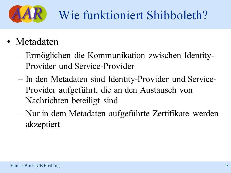Franck Borel, UB Freiburg 8 Wie funktioniert Shibboleth? Metadaten –Ermöglichen die Kommunikation zwischen Identity- Provider und Service-Provider –In