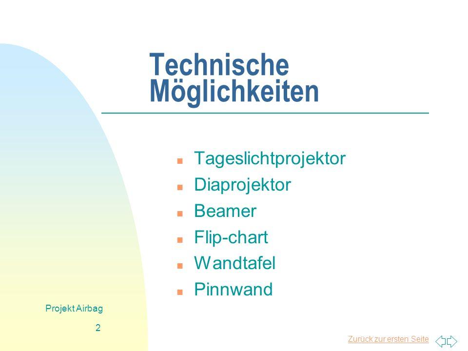 Zurück zur ersten Seite Projekt Airbag 2 Technische Möglichkeiten n Tageslichtprojektor n Diaprojektor n Beamer n Flip-chart n Wandtafel n Pinnwand