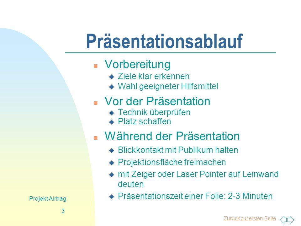 Zurück zur ersten Seite Projekt Airbag 3 Präsentationsablauf n Vorbereitung u Ziele klar erkennen u Wahl geeigneter Hilfsmittel n Vor der Präsentation
