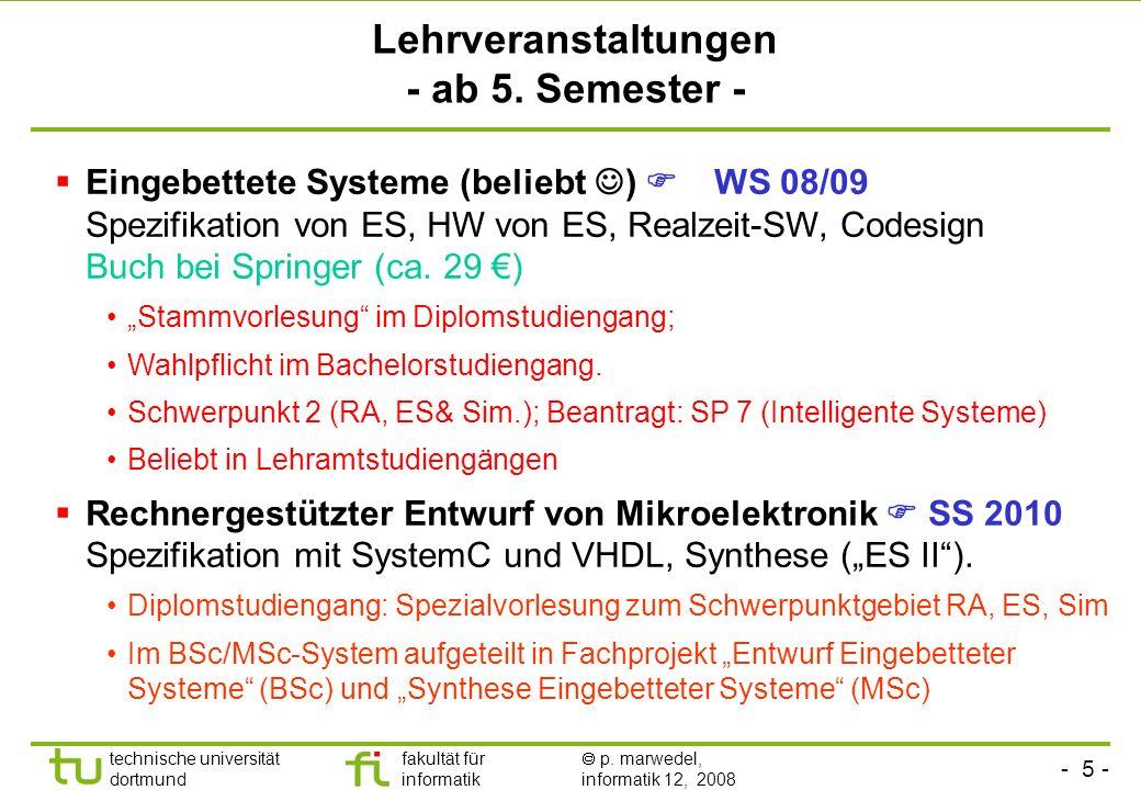 - 5 - technische universität dortmund fakultät für informatik p. marwedel, informatik 12, 2008 Lehrveranstaltungen - ab 5. Semester - Eingebettete Sys