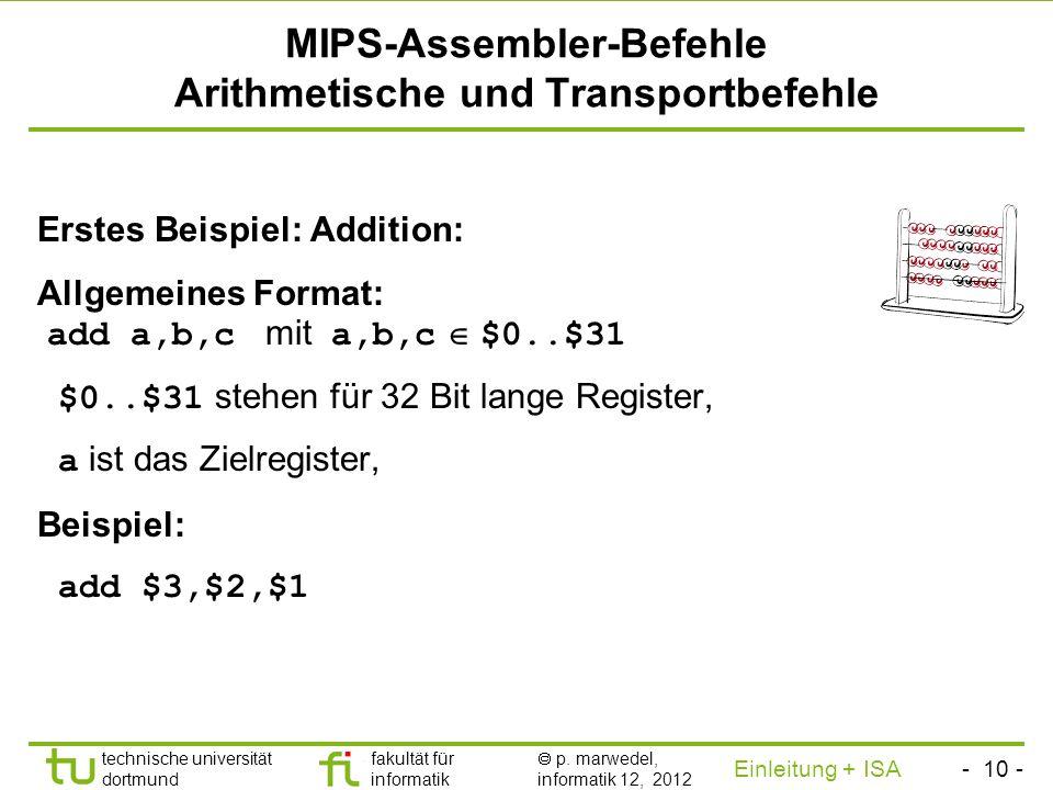 - 9 - technische universität dortmund fakultät für informatik p. marwedel, informatik 12, 2012 Einleitung + ISA TU Dortmund Begriffe MIPS-Befehle sind