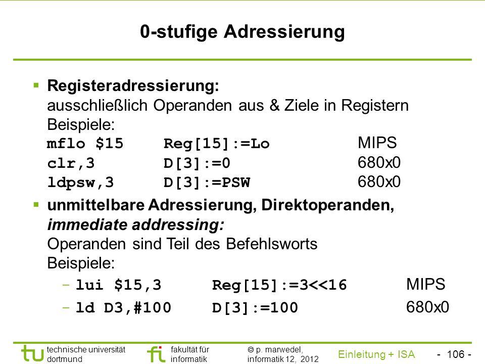 - 105 - technische universität dortmund fakultät für informatik p. marwedel, informatik 12, 2012 Einleitung + ISA TU Dortmund 2.2.2.2 Befehlssätze - A