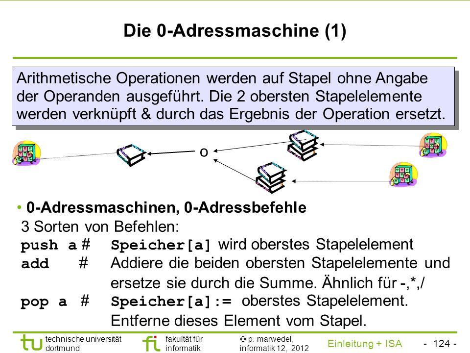 - 123 - technische universität dortmund fakultät für informatik p. marwedel, informatik 12, 2012 Einleitung + ISA TU Dortmund Die 1-Adressmaschine (2)