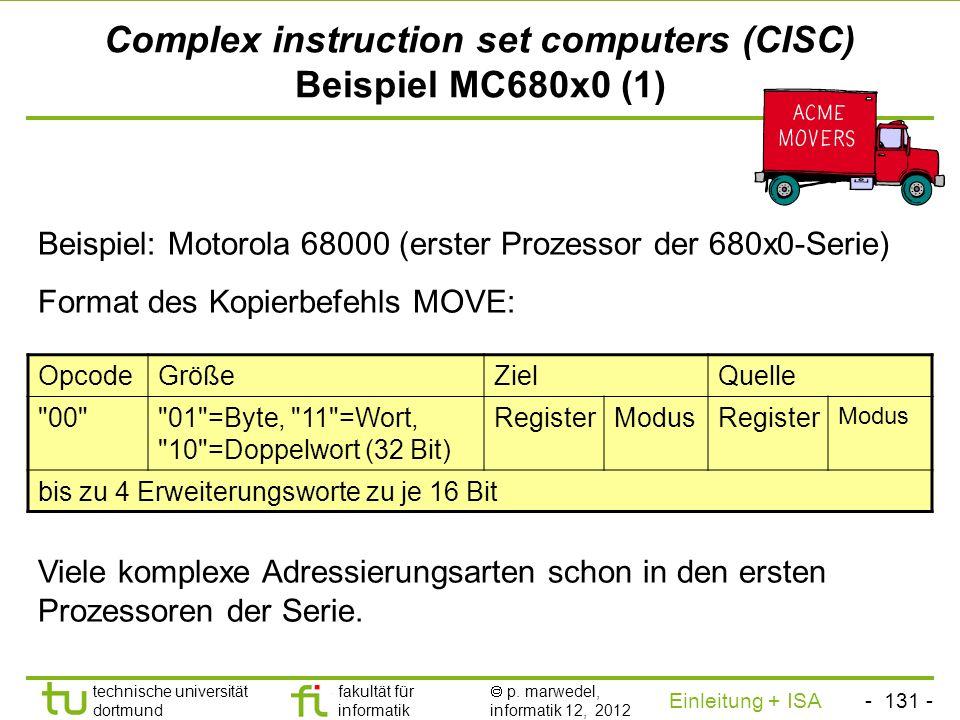 - 130 - technische universität dortmund fakultät für informatik p. marwedel, informatik 12, 2012 Einleitung + ISA TU Dortmund Complex instruction set