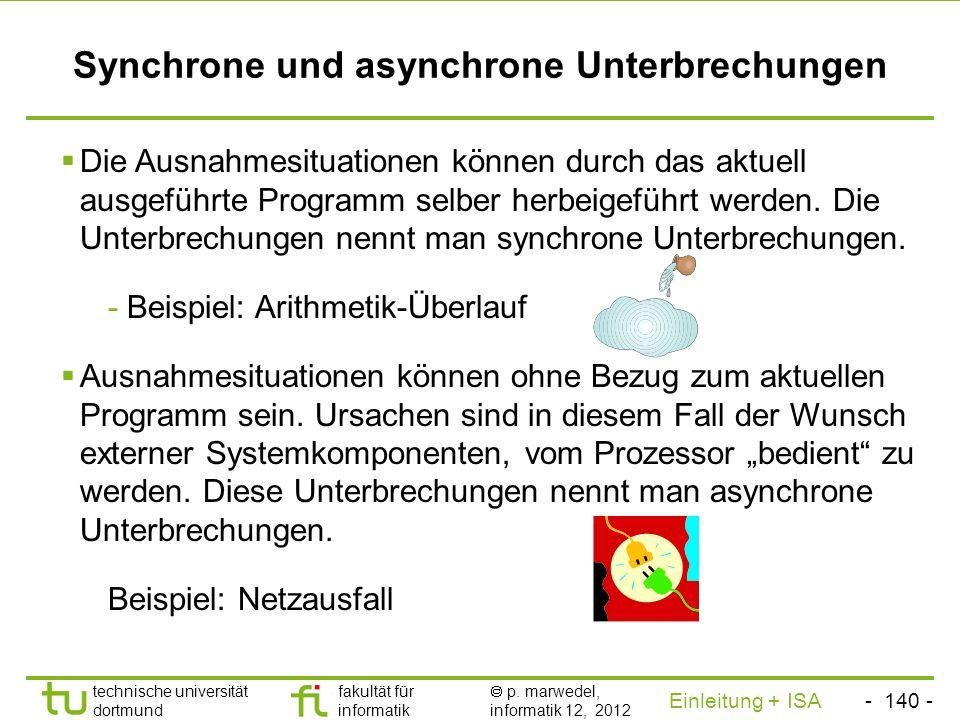 - 139 - technische universität dortmund fakultät für informatik p. marwedel, informatik 12, 2012 Einleitung + ISA TU Dortmund Interrupts und Prozedure