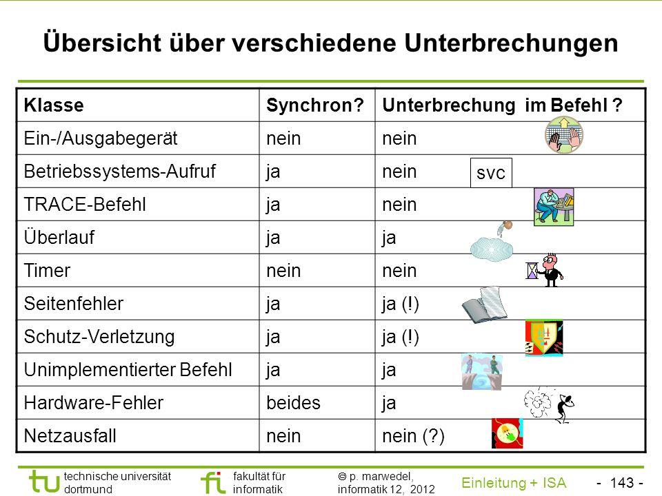 - 142 - technische universität dortmund fakultät für informatik p. marwedel, informatik 12, 2012 Einleitung + ISA TU Dortmund Endgültiger Abbruch oder